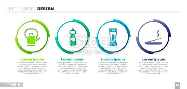 Set Kettle with handle, Bottle of water, Bottle of shampoo and Scented spa stick. Business infographic template. Vector
