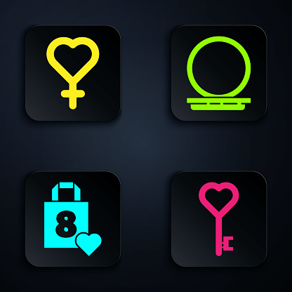 Set Key in heart shape, Female gender symbol, Shopping bag with heart and Makeup powder with mirror. Black square button. Vector