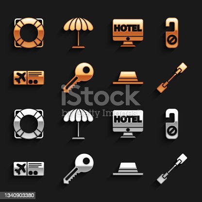 istock Set Key, Please do not disturb, Paddle, Man hat with ribbon, Airline ticket, Online hotel booking, Lifebuoy and Sun protective umbrella for beach icon. Vector 1340903380