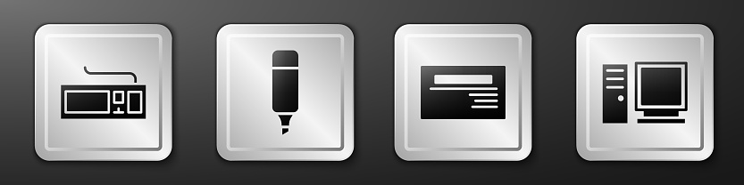 Set Keyboard, Marker pen, Business card and Computer monitor icon. Silver square button. Vector