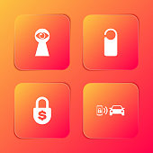istock Set Keyhole with eye, Please do not disturb, Money lock and Smart car alarm system icon. Vector 1270203765