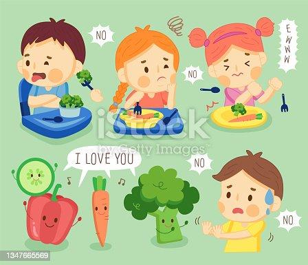 istock set kids do not like vegetable. 1347665569