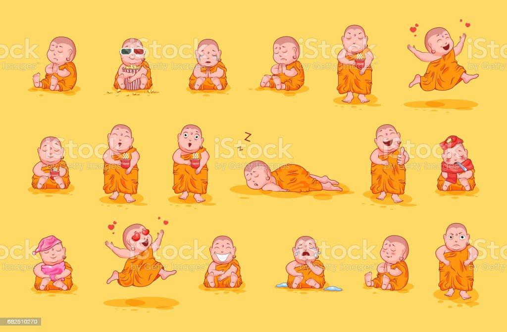 Conjunto imagen kit colección etiqueta emoji emoticon emoción vector aislado dulce carácter feliz lindo pequeño Buda - ilustración de arte vectorial