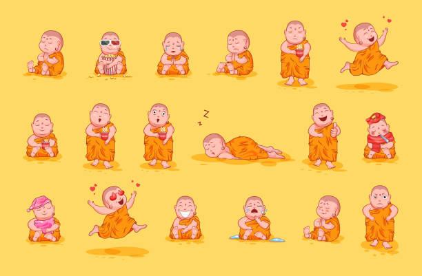 ilustraciones, imágenes clip art, dibujos animados e iconos de stock de conjunto imagen kit colección etiqueta emoji emoticon emoción vector aislado dulce carácter feliz lindo pequeño buda - hermano