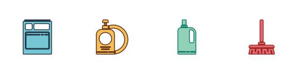 Set Kitchen dishwasher machine, Dishwashing liquid bottle and plate, Fabric softener and Handle broom icon. Vector Set Kitchen dishwasher machine, Dishwashing liquid bottle and plate, Fabric softener and Handle broom icon. Vector. dishwashing machine stock illustrations