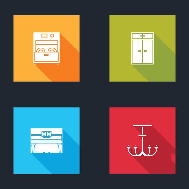 Set Kitchen dishwasher machine, Wardrobe, Grand piano and Chandelier icon. Vector Set Kitchen dishwasher machine, Wardrobe, Grand piano and Chandelier icon. Vector. dishwashing machine stock illustrations