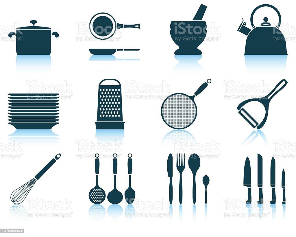 Set kitchen utensil icon vector art illustration