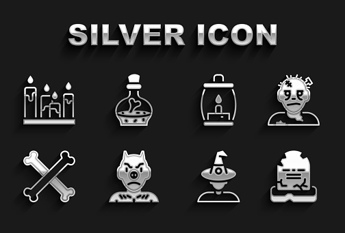Set Krampus, heck, Zombie mask, Tombstone with RIP written, Witch, Crossed bones, Camping lantern, Burning candle and Bottle potion icon. Vector