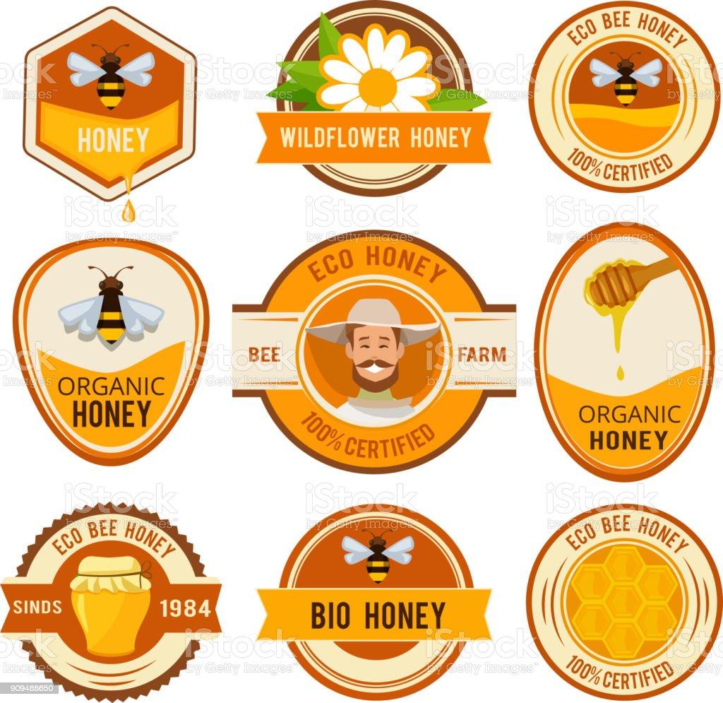 Set d'étiquettes pour le miel. Modèle vectoriel avec place pour votre texte - Illustration vectorielle