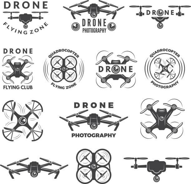 ilustrações de stock, clip art, desenhos animados e ícones de set labels with different illustrations of drones - drone