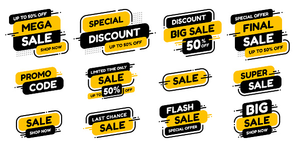 Set labels with inscription sale. Vector flat illustrations. Ad or promo. Shopping concept.