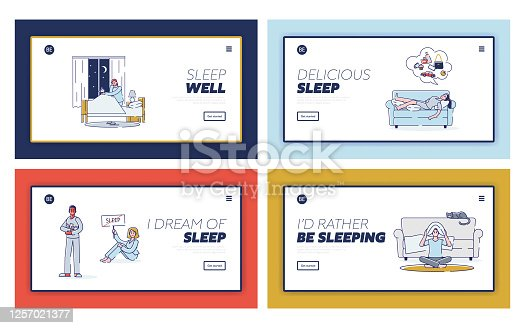 istock Set landing pages with people suffering from insomnia. Cartoon characters could not sleep at night 1257021377