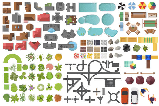 Set Landscape elements, top view. House, garden, tree, lake, swimming pools, bench, road, cars, people. Landscaping symbols set isolated on white Set Landscape elements, top view. House, garden, tree, lake, swimming pools, bench, road, cars, people. patio stock illustrations