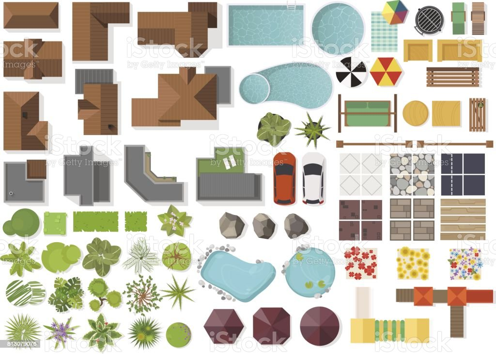Set Landscape elements, top view.House, garden, tree, lake,swimming pools, bench, table. Landscaping symbols set isolated on white royalty-free set landscape elements top viewhouse garden tree lakeswimming pools bench table landscaping symbols set isolated on white stock illustration - download image now