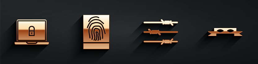 Set Laptop and lock, Fingerprint, Barbed wire and Thief eye mask icon with long shadow. Vector