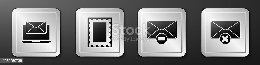 istock Set Laptop with envelope, Postal stamp, Delete envelope and Delete envelope icon. Silver square button. Vector 1272260738