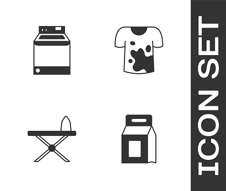 Set Laundry detergent, Washer, Iron and ironing board and Dirty t-shirt icon. Vector