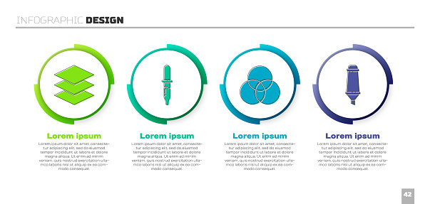 Set Layers, Pipette, RGB and CMYK color mixing and Marker pen. Business infographic template. Vector