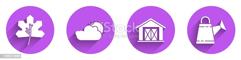 Set Leaf or leaves, Sun and cloud weather, Farm house and Watering can icon with long shadow. Vector