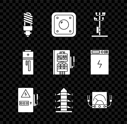 Set LED light bulb, Electric switch, High voltage power pole line, Electrical panel, Ampere meter, multimeter, voltmeter, Battery and icon. Vector