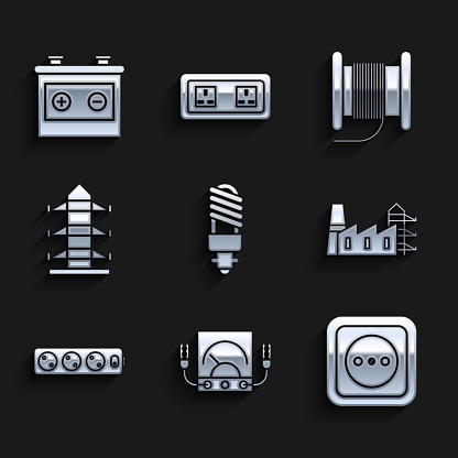 Set LED light bulb, multimeter, voltmeter, Electrical outlet, Power station plant and factory, extension cord, High voltage power pole line, Wire electric cable reel drum and Car battery icon. Vector