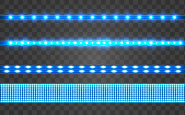ilustrações, clipart, desenhos animados e ícones de conjunto led realista fita azul em um fundo transparente. - led