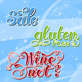 istock Set Lettering words. Gluten free, sale, wine not. Hand drawn. Vector illustration . Design element. 1294543712