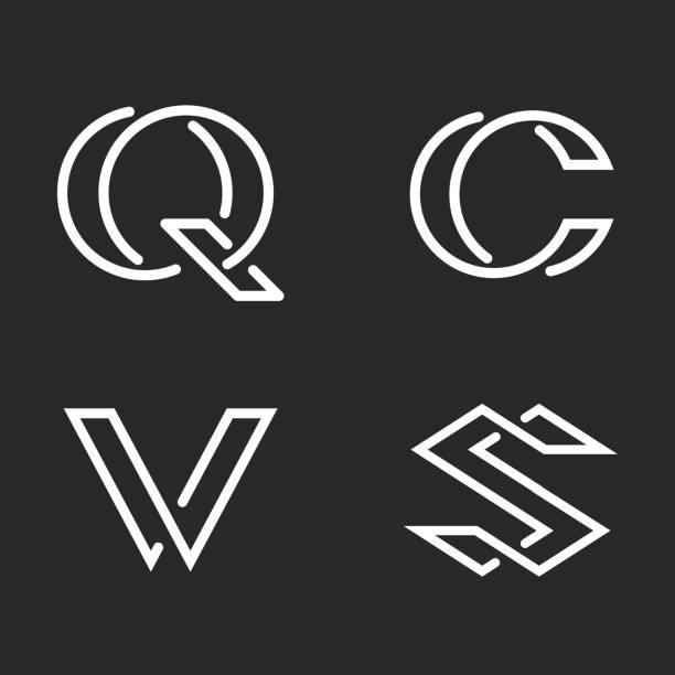 Set letters S, C, Q, V monogram logos mockup, black and white linear hipster initials identity creative minimal style emblem Set letters S, C, Q, V monogram logos mockup, black and white linear hipster initials identity creative minimal style emblem letter c stock illustrations