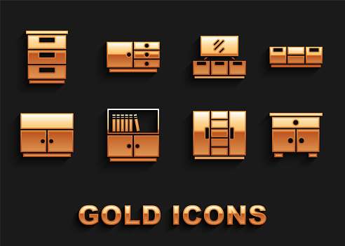 Set Library bookshelf, Furniture nightstand, Wardrobe, TV table, and Chest of drawers icon. Vector