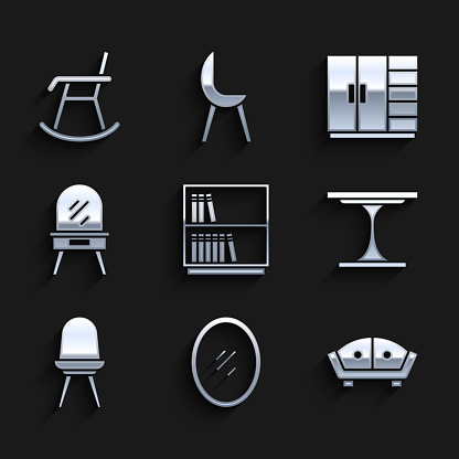 Set Library bookshelf, Mirror, Sofa, Round table, Chair, Dressing, Wardrobe and Armchair icon. Vector