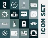 istock Set Lifebuoy, Ski goggles, Photo, Anchor, Suitcase, Sun, Please do not disturb and Location hotel icon. Vector 1339864807