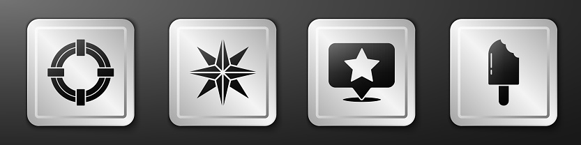Set Lifebuoy, Wind rose, Map pointer with star and Ice cream icon. Silver square button. Vector
