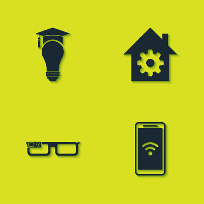 Set Light bulb and graduation cap, Mobile with wi-fi wireless, Smart glasses and home settings icon. Vector