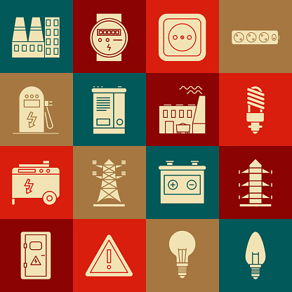 Set Light bulb, High voltage power pole line, LED light, Electrical outlet, Car battery, car charging station, Power plant and factory and Coal icon. Vector