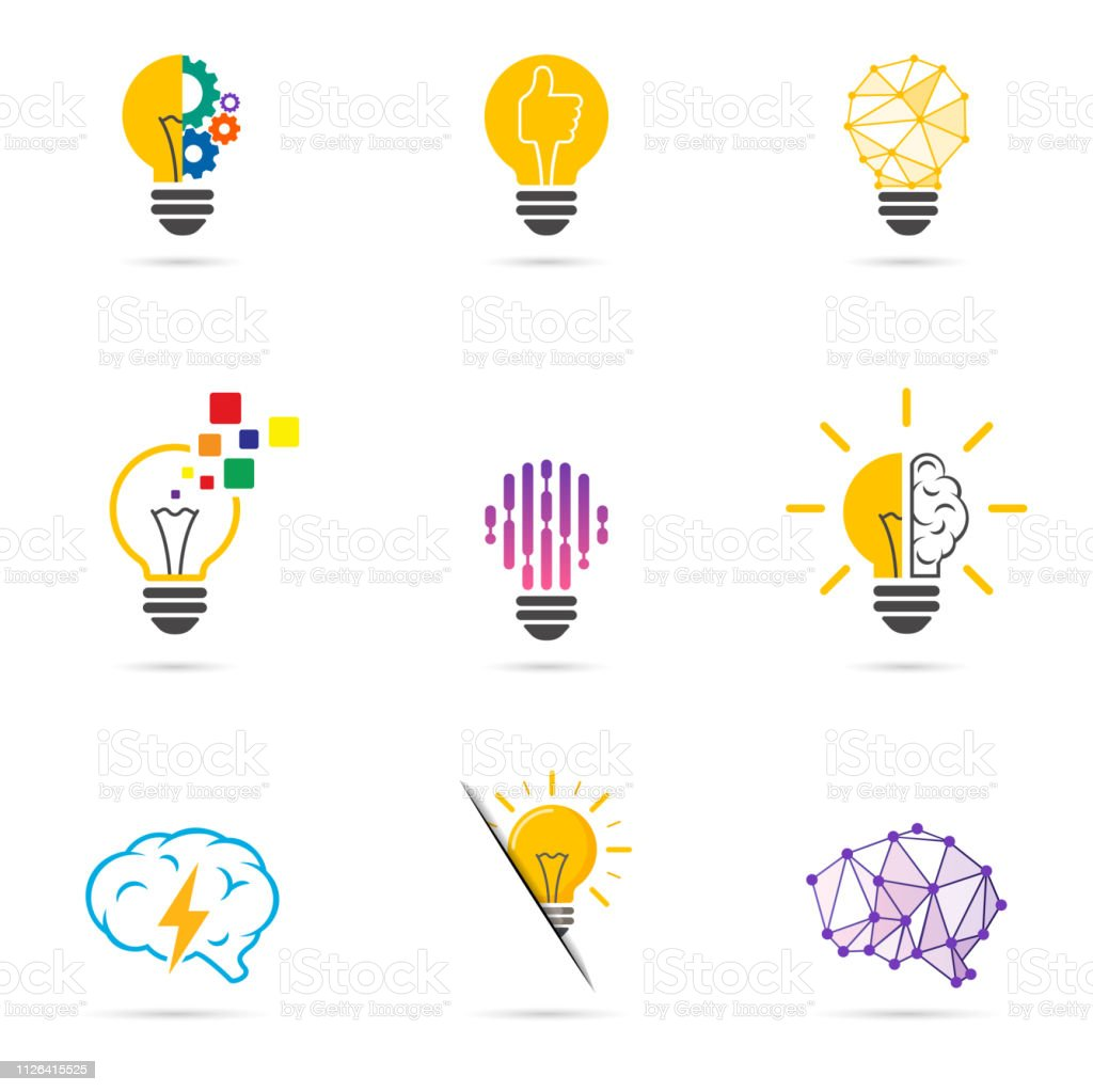 Set light bulb logo. Energy and idea symbol, technology icons. royalty-free set light bulb logo energy and idea symbol technology icons stock illustration - download image now