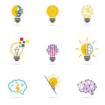 Set light bulb logo. Energy and idea symbol, technology icons.