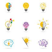 Set light bulb logo. Energy and idea symbol, technology icons. Vector illustration.