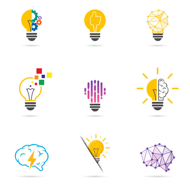 ustaw logo żarówki. symbol energii i idei, ikony technologii. - inteligencja stock illustrations