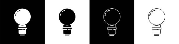 Set Light bulb with concept of idea icon isolated on black and white background. Energy and idea symbol. Inspiration concept. Vector Illustration Set Light bulb with concept of idea icon isolated on black and white background. Energy and idea symbol. Inspiration concept. Vector Illustration energy efficient lightbulb stock illustrations