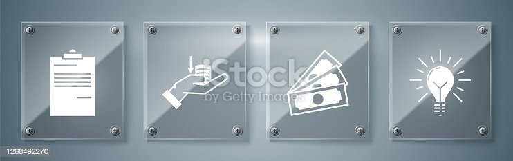 Set Light bulb with rays shine and concept of idea, Stacks paper money cash, Money on hand and Document. Square glass panels. Vector