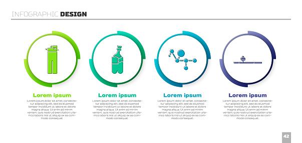 Set Lighter, Bong for smoking marijuana, Cannabis molecule and Opium pipe. Business infographic template. Vector