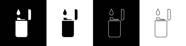 Set Lighter icon isolated on black and white background. Vector Illustration Set Lighter icon isolated on black and white background. Vector Illustration hot pockets stock illustrations