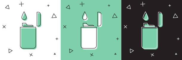 Set Lighter icon isolated on white and green, black background. Vector Illustration Set Lighter icon isolated on white and green, black background. Vector Illustration hot pockets stock illustrations