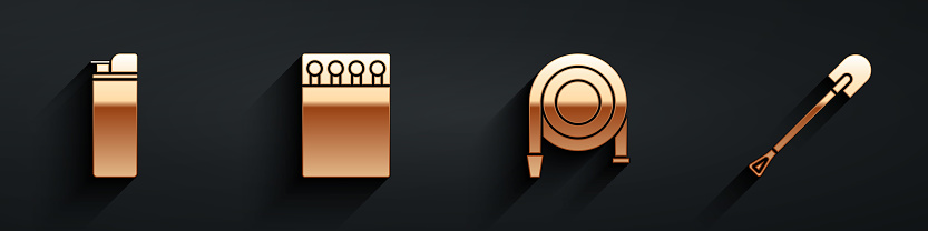 Set Lighter, Open matchbox and matches, Fire hose reel and Fire shovel icon with long shadow. Vector
