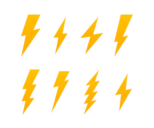 Set Lightning bolt. Thunderbolt, lightning strike. Modern flat style vector illustration Set Lightning bolt. Thunderbolt, lightning strike. Modern flat style vector illustration. thunderstorm stock illustrations