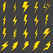 Set Lightning bolt. Thunderbolt, lightning strike. Modern flat style. Vector illustration.
