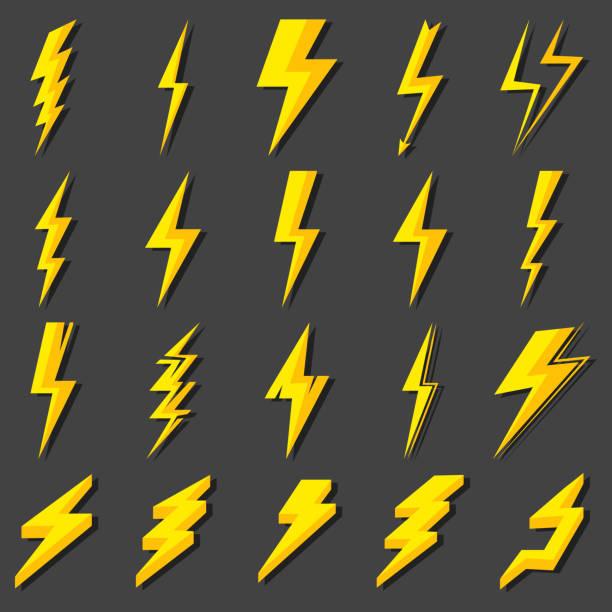 illustrazioni stock, clip art, cartoni animati e icone di tendenza di set lightning bolt. thunderbolt, lightning strike. modern flat style vector illustration - fulmini