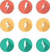 Set lightning in the long shadow circles. Vector illustration
