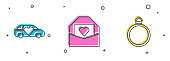 Set Limousine car, Envelope with Valentine heart and Diamond engagement ring icon. Vector.