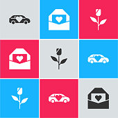 Set Limousine car, Envelope with Valentine heart and Flower rose icon. Vector.